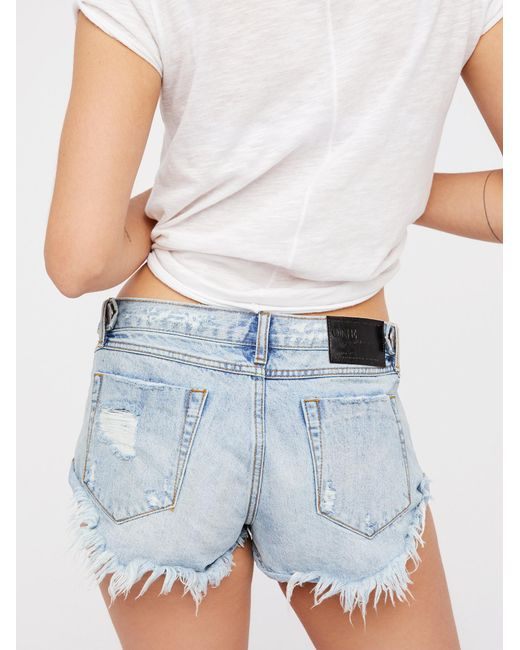Free People | Blue Bonitas Cutoffs | Lyst