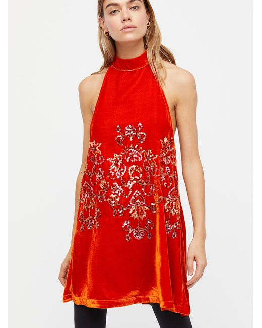 Free People | Red Jill's Sequin Swing Mini Dress | Lyst