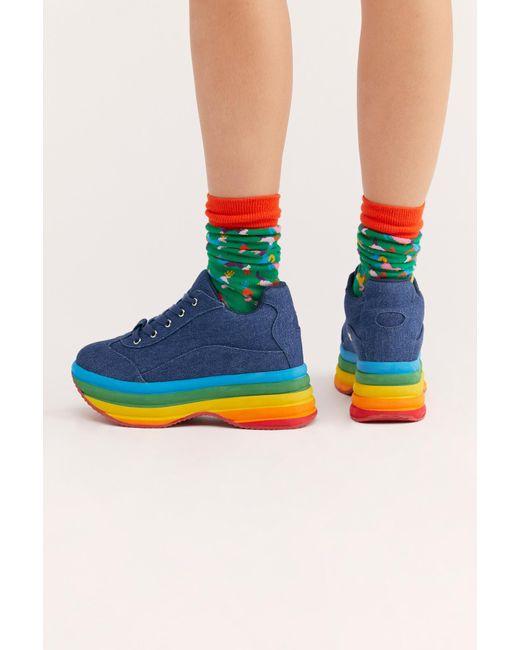 133c0c9569e ... Free People - Blue Sloan Flatform Sneaker By Jeffrey Campbell - Lyst ...