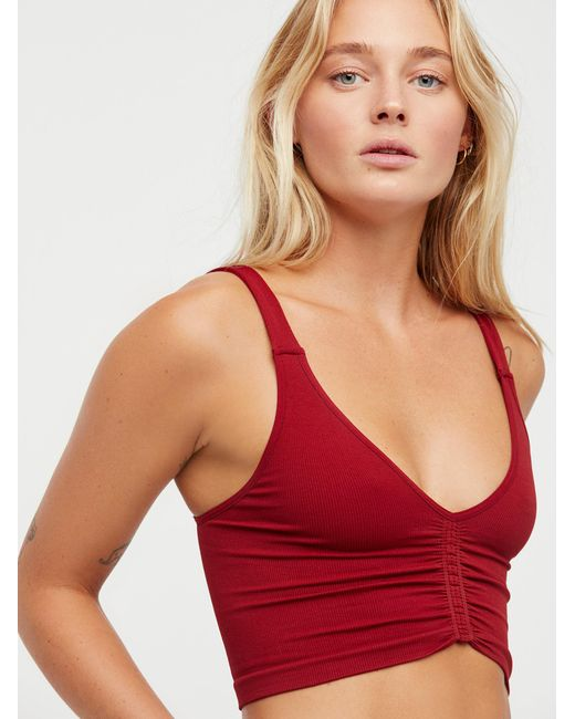 Free People   Red Seamless Corset Crop   Lyst