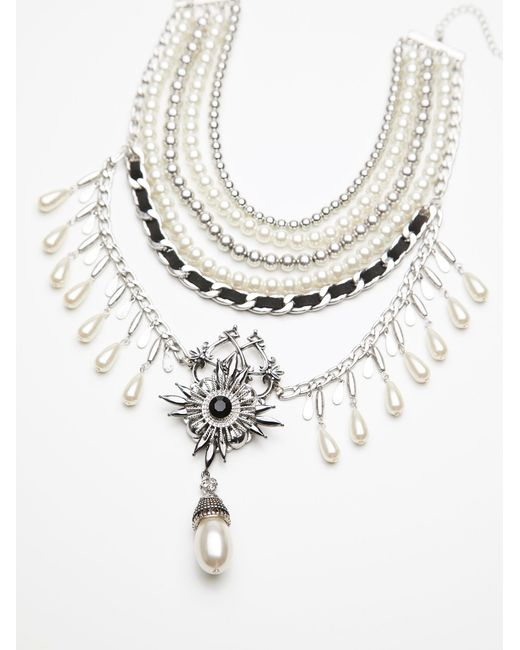 Free People | Metallic Girl In The Pearls Statement Necklace | Lyst