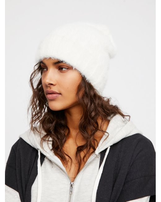 Free People | Brown Head In The Clouds Fuzzy Beanie | Lyst