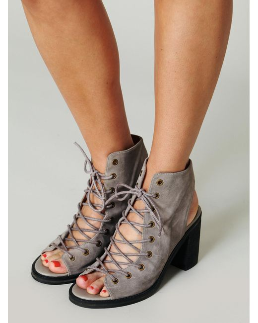 Free people Minimal Lace Up Heel in Gray | Lyst