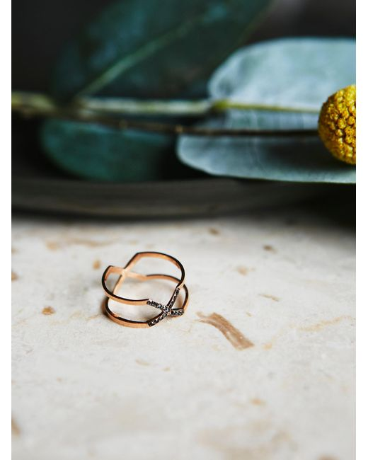 Free People | Pink Mixed Diamond X Ring | Lyst