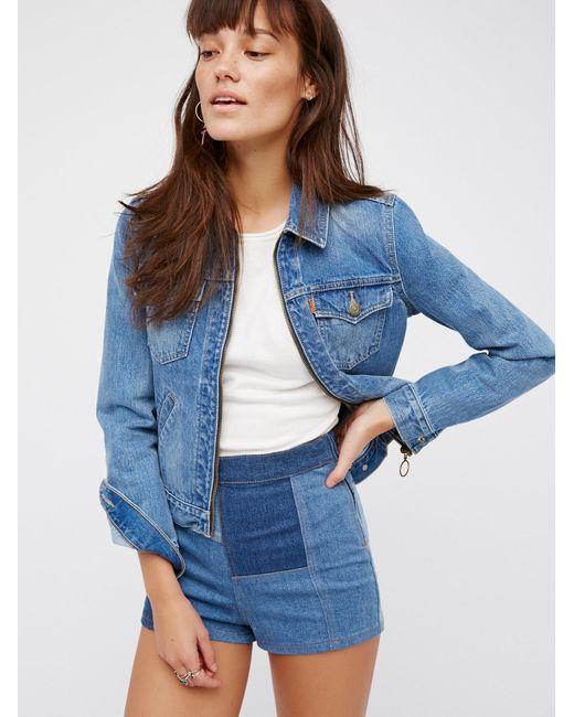 Free people Patched High & Tight Denim Shorts in Blue | Lyst