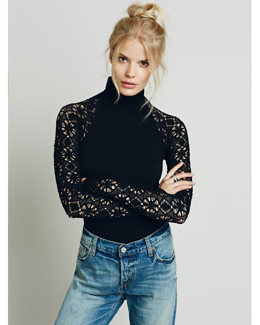 Free People | Black Rib And Lace Turtleneck | Lyst
