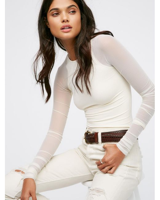 Free People   White Scrunch Sleeve Seamless   Lyst