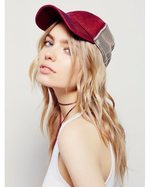 Free People | Red Sunbleached Ball Cap | Lyst