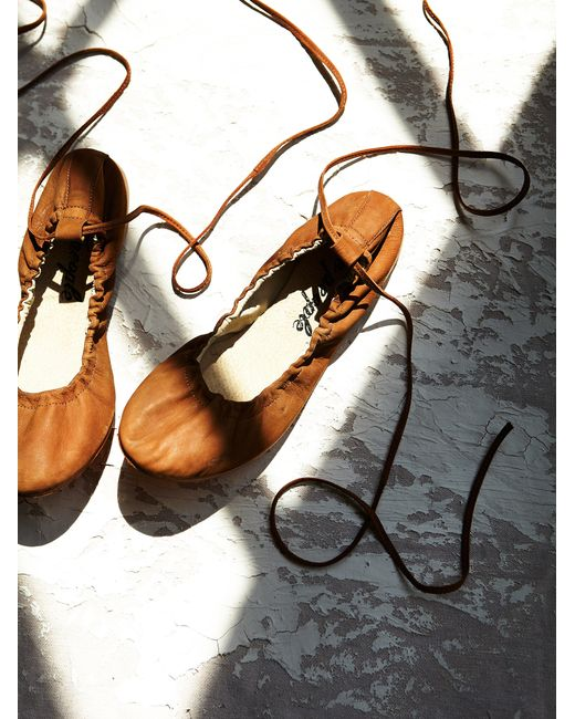 Free People | Brown Washed Leather Ballet Flat | Lyst