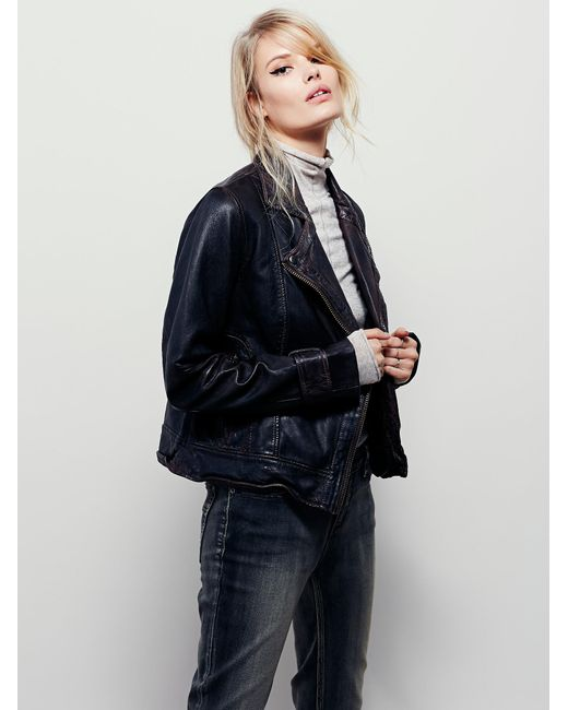 Free People | Brown Washed Leather Moto Jacket | Lyst