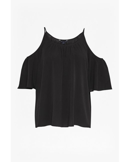 French Connection | Black Polly Plains Cut-out Sholder Top | Lyst