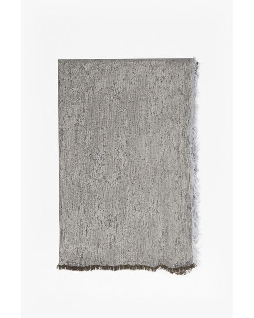 French Connection | Gray Double Faced Metallic Scarf | Lyst