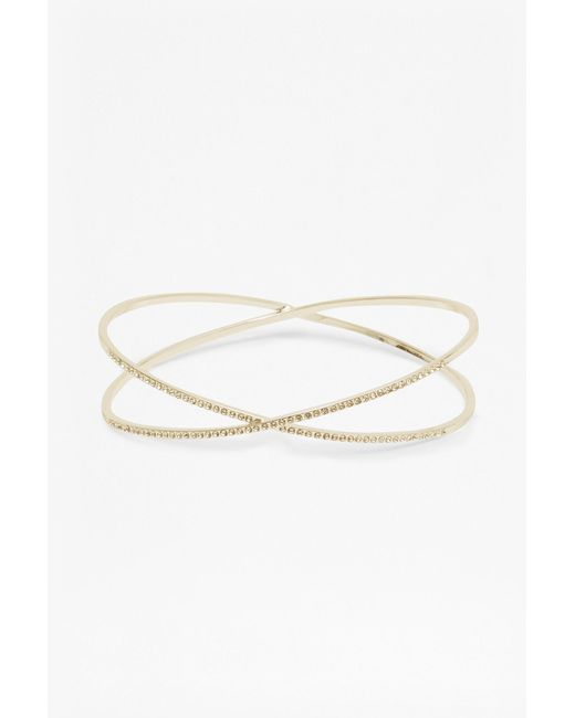 French Connection - Metallic Kissing Crystal Bangle - Lyst