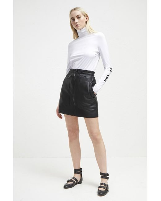 French Connection - Black Brishen Pu Zip Front Mini Skrt - Lyst