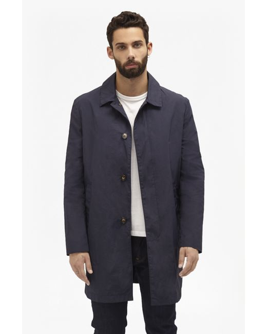 French Connection Winter Rain Mac Coat In Blue For Men Lyst