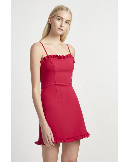 French Connection - Red Whisper Ruth Strappy Frill Dress - Lyst
