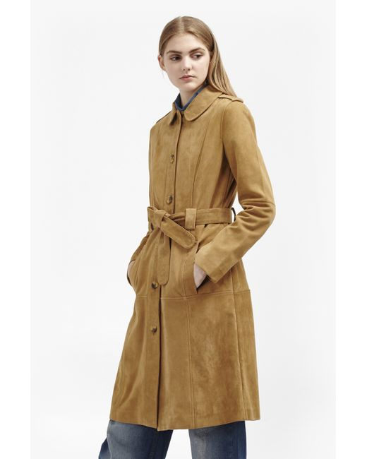 French Connection | Blue Tara Suede Belted Coat | Lyst