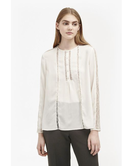 French Connection | Natural Polly Plains Lace Insert Blouse | Lyst