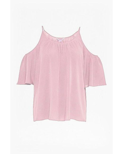 French Connection | Pink Polly Plains Cut-out Sholder Top | Lyst