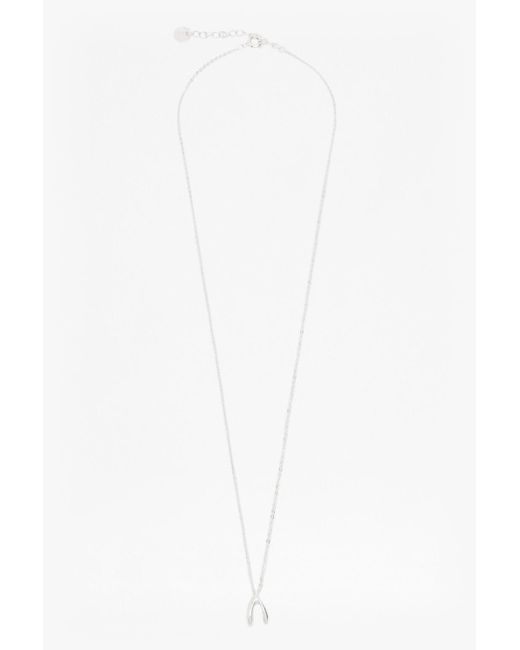 French Connection | Metallic Core Wish Bone Necklace | Lyst