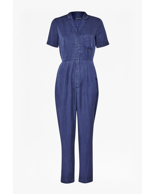 French Connection | Blue Utility Tencel Jumpsuit | Lyst