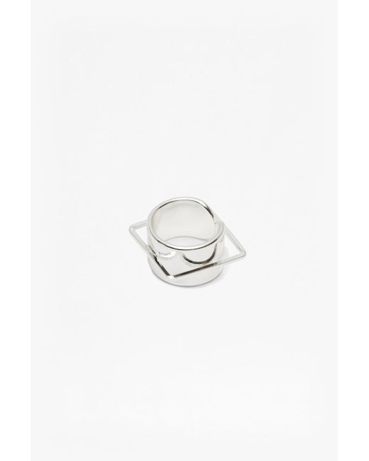 French Connection | Metallic Geo Cuff And Square Ring | Lyst
