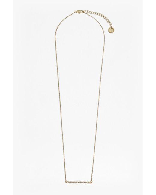 French Connection - Metallic Crystal Bar Necklace - Lyst