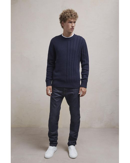 French Connection | Blue Cotton Wool Mixed Stitch Jumper for Men | Lyst
