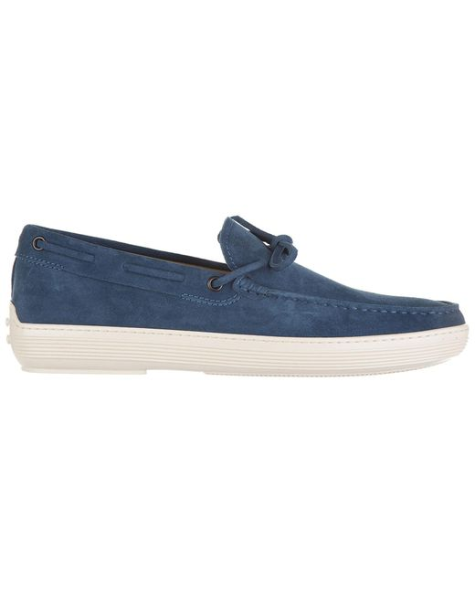 Tod's - Blue Suede Loafers Moccasins for Men - Lyst