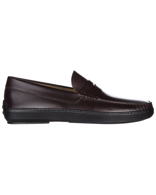 Tod's - Brown Leather Loafers Moccasins for Men - Lyst