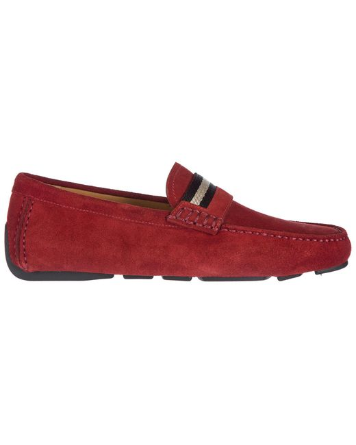 51426e6769c Bally - Red Suede Loafers Moccasins Wabler for Men - Lyst ...