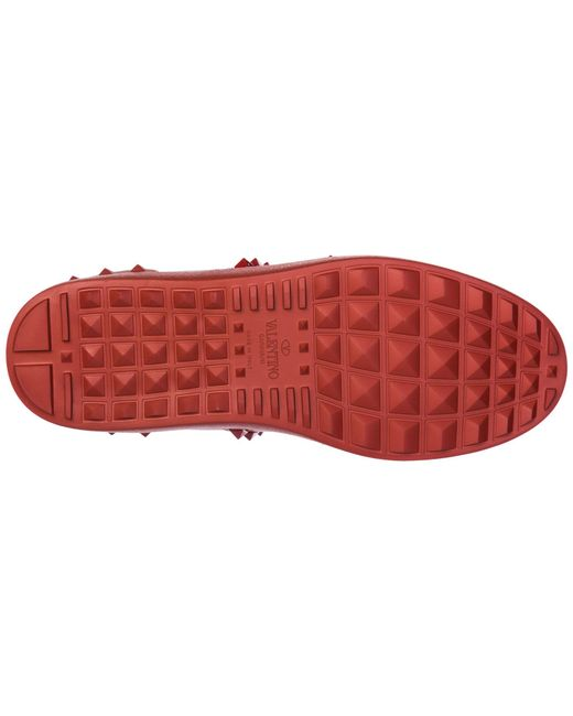 7cb41469b3ea ... Valentino - Red Shoes Leather Trainers Sneakers Rockstud for Men - Lyst  ...