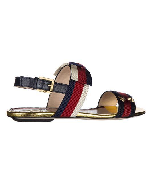 a5d351cea2 ... Gucci - Multicolor Leather Sandals Sylvie Web - Lyst ...