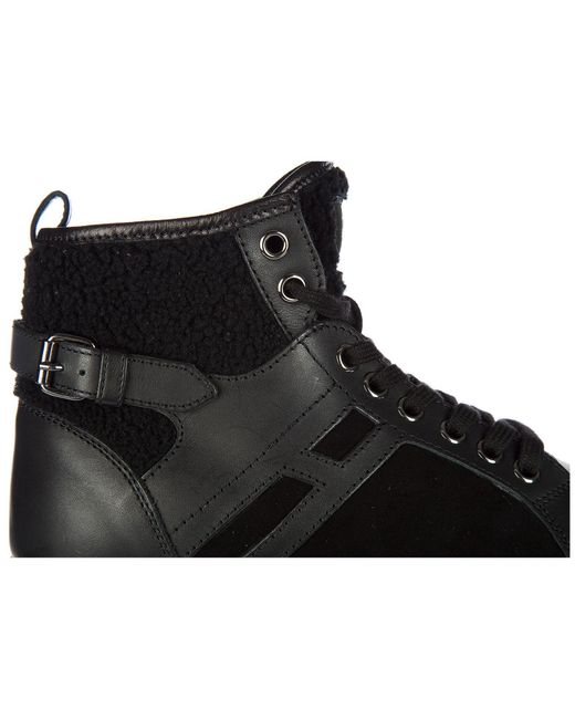 2b07df94699 ... Hogan Rebel - Black Shoes High Top Leather Trainers Sneakers R182 Mid  Cut - Lyst
