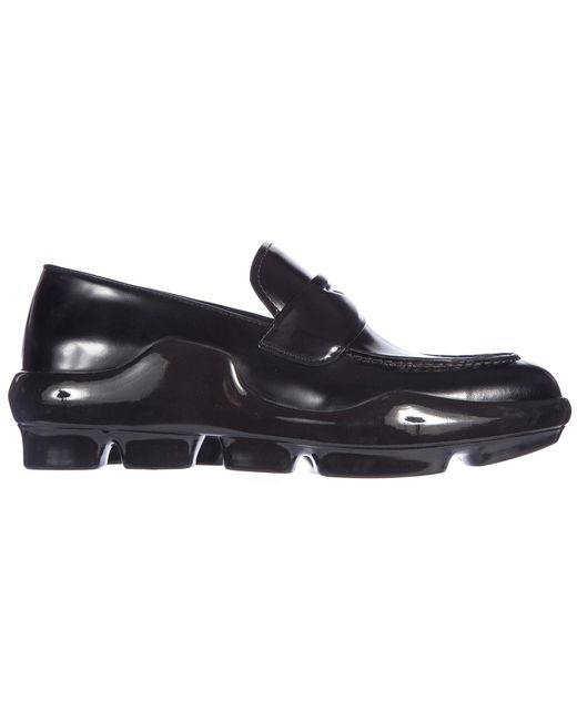 7576d087d55 Lyst - Prada Leather Loafers Moccasins Spazzolato in Black - Save 17%
