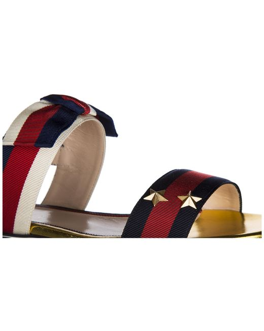 5f2298dfc4 ... Gucci - Multicolor Leather Sandals Sylvie Web - Lyst