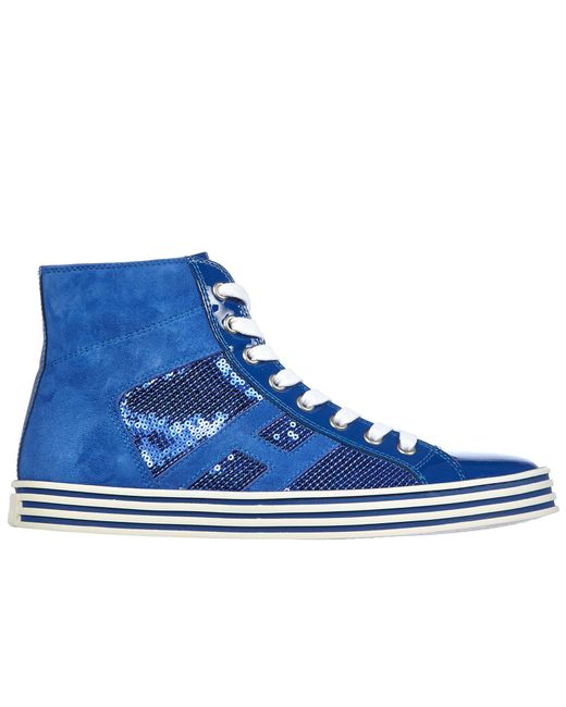 8a42f97bc52 Hogan Rebel - Blue Shoes High Top Leather Trainers Sneakers Rebel R141  Laterale Paillettes - Lyst ...