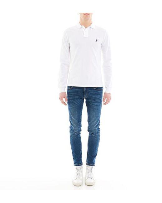 40a2d0345c49a ... Polo Ralph Lauren - White Polo en coton piqué à manches longues slim fit  for Men ...