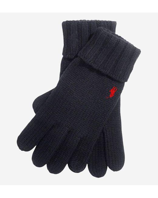Gants en laine côtelée logo Polo Ralph Lauren pour homme en coloris Black