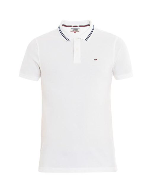 ... Tommy Hilfiger - White Polo en coton piqué à liserés contrastants slim  fit Ligne Tommy Jeans 1f21f29f2b23