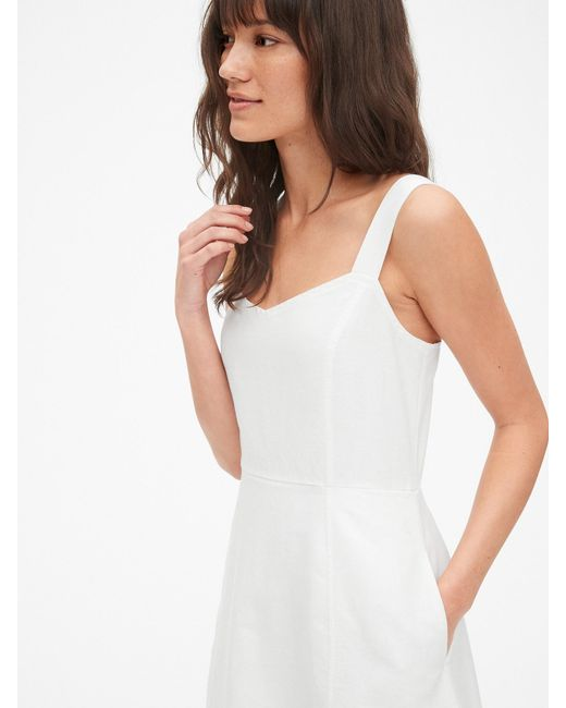 429c4e9bf8 ... Gap - White Fit And Flare Cami Dress In Linen-cotton - Lyst ...