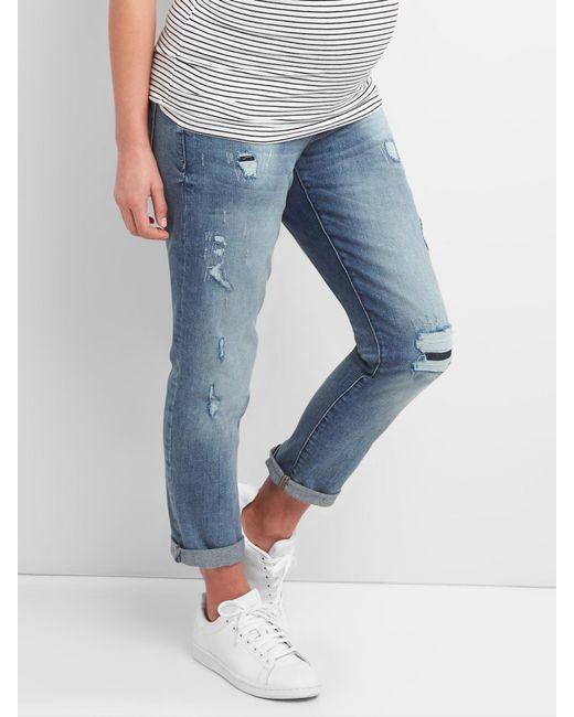 442828f7bca19 Gap - Blue Maternity Full Panel Repaired Best Girlfriend Jeans - Lyst ...