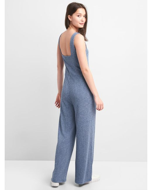 c922ee05690c Gap Ribbed Softspun Square-neck Jumpsuit in Blue - Lyst
