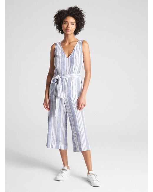 daed11e05734 Lyst - Gap Sleeveless Tie-belt Stripe Jumpsuit In Linen in Blue