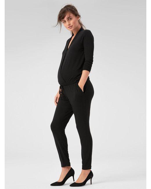 92d43b142303f Lyst - Gap Maternity Long Sleeve Wrap Jumpsuit in Black