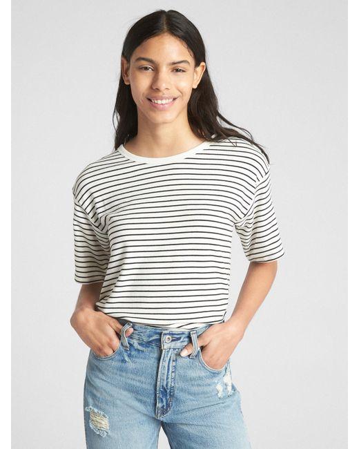 c728d74680b88 Gap - Black Softspun Stripe Open-back T-shirt - Lyst ...