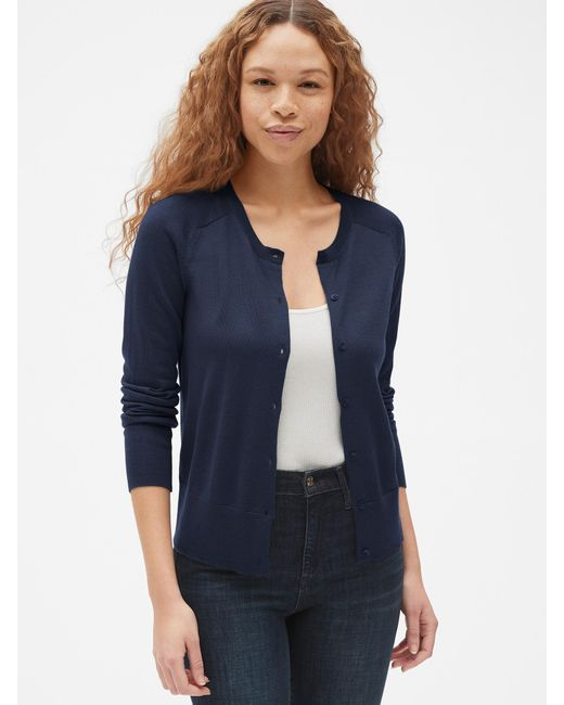 1c8127083 Lyst - Gap Crewneck Cardigan Sweater In Merino Wool in Blue