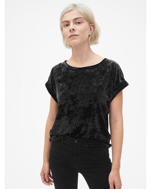 b5d753d941bf5 Lyst - Gap Velvet Roll-sleeve Top in Black