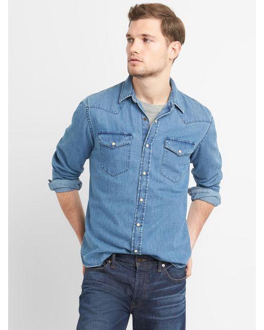 76c3fe4b537 Lyst - Gap Denim Western Shirt In Slim Fit in Blue for Men