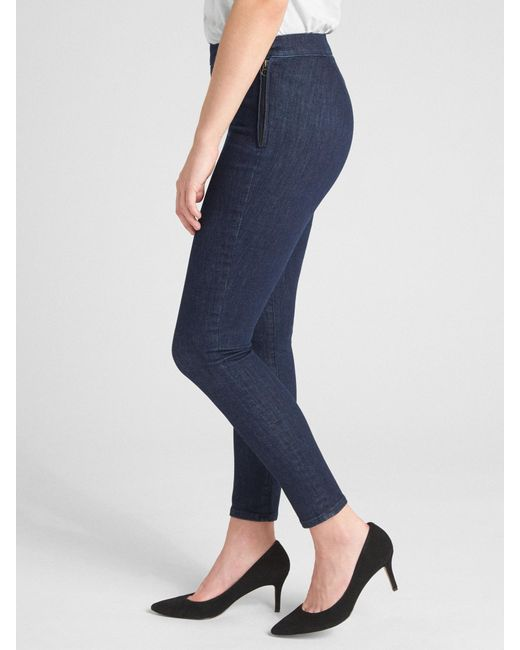 Gap - Blue High Rise Side-zip True Skinny Ankle Jeans In Sculpt - Lyst